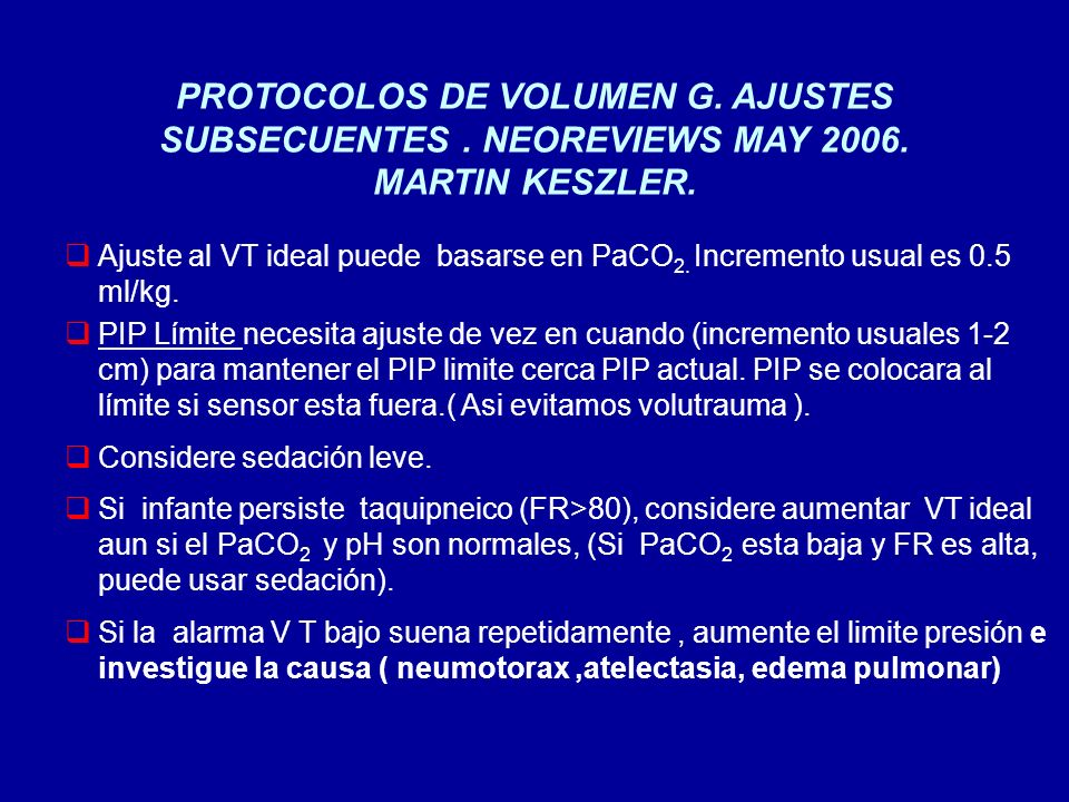 PROTOCOLOS DE VOLUMEN G. AJUSTES SUBSECUENTES. NEOREVIEWS MAY 2006