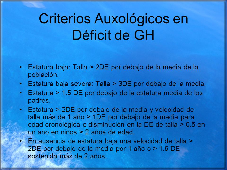 Criterios Auxológicos en Déficit de GH
