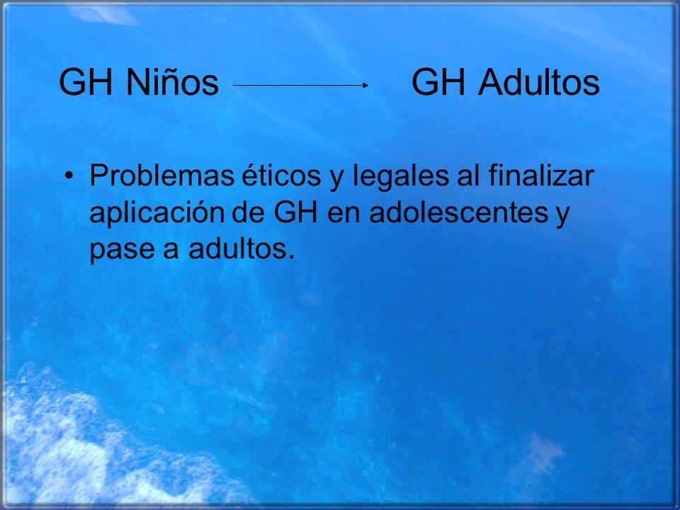GH Niños GH AdultosProblemas éticos y legales al finalizar aplicación de GH en adolescentes y pase a adultos.