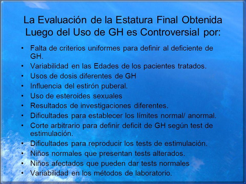 La Evaluación de la Estatura Final Obtenida Luego del Uso de GH es Controversial por: