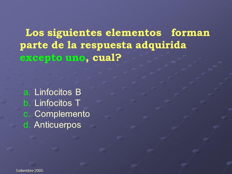 Los siguientes elementos forman parte de la respuesta adquirida excepto uno, cual