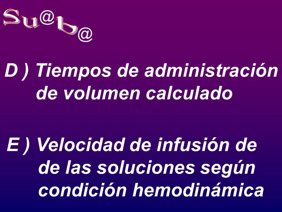Su b D ) Tiempos de administración de volumen calculado