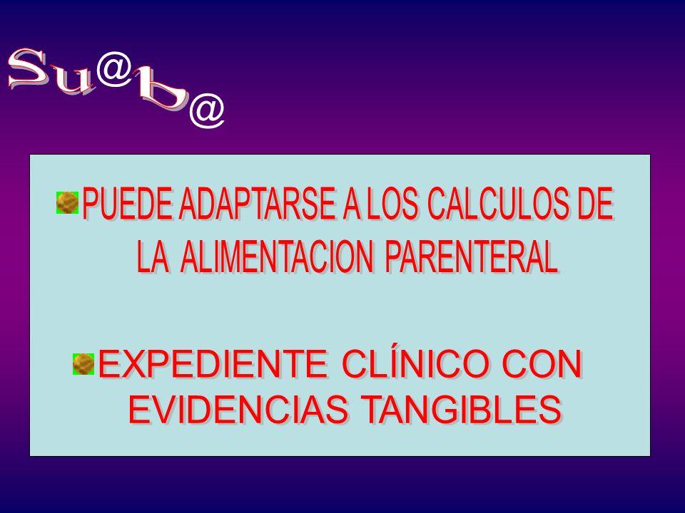 Su b @ @ PUEDE ADAPTARSE A LOS CALCULOS DE LA ALIMENTACION PARENTERAL