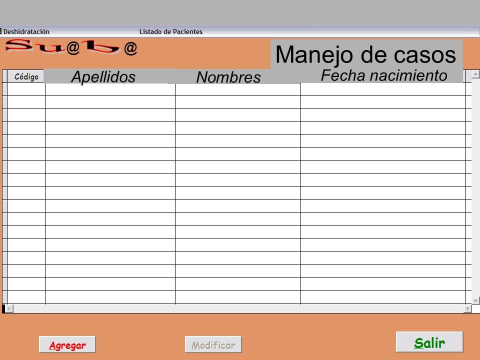 @ Su @ Manejo de casos b Apellidos Nombres Fecha nacimiento