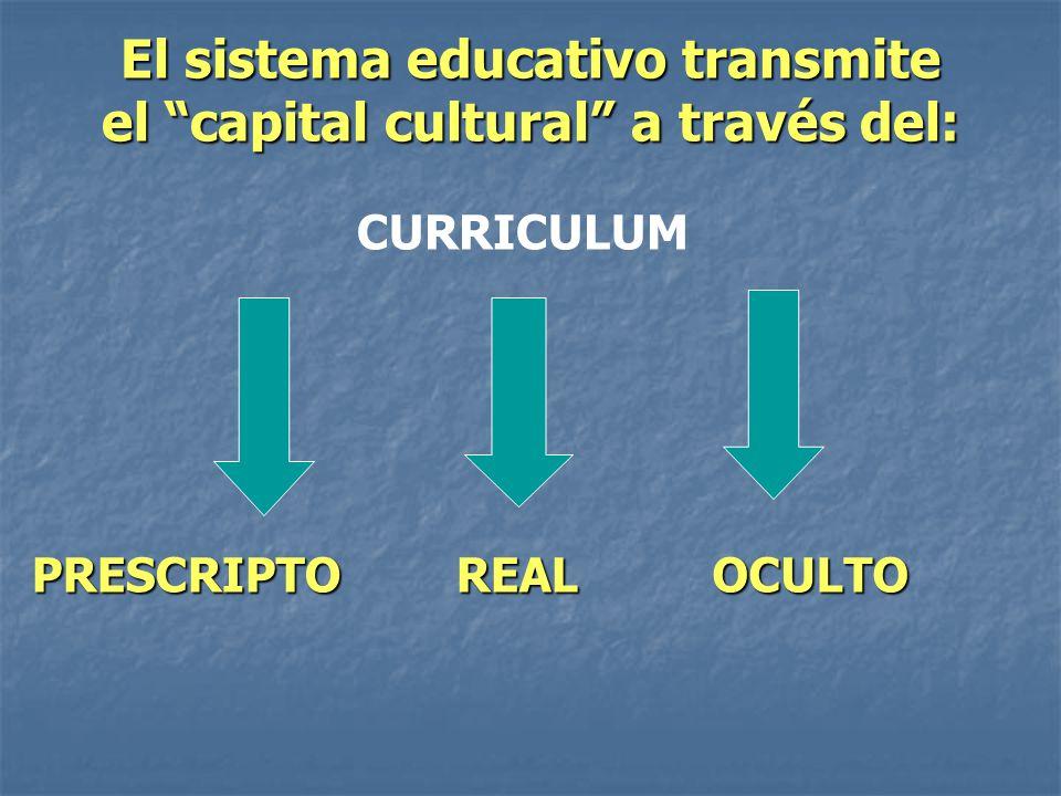 El sistema educativo transmite el capital cultural a través del: