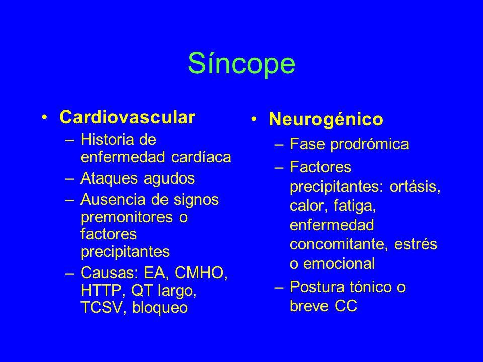 Síncope Cardiovascular Neurogénico Historia de enfermedad cardíaca