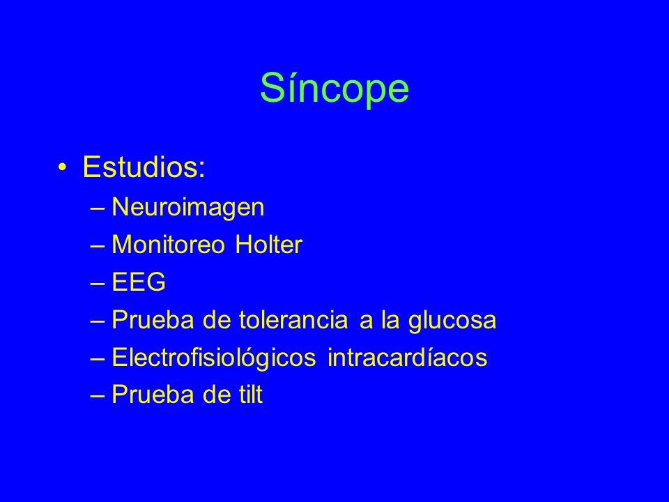Síncope Estudios: Neuroimagen Monitoreo Holter EEG