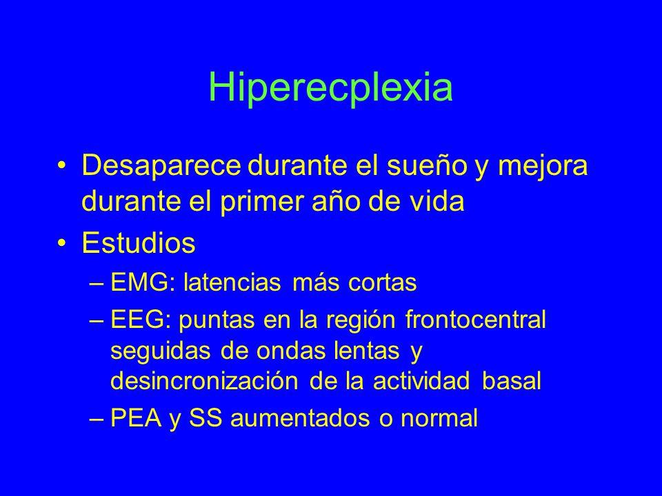 HiperecplexiaDesaparece durante el sueño y mejora durante el primer año de vida. Estudios. EMG: latencias más cortas.