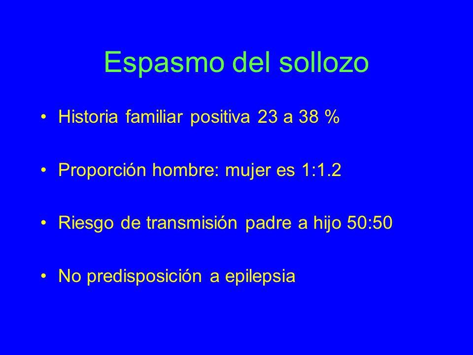 Espasmo del sollozo Historia familiar positiva 23 a 38 %