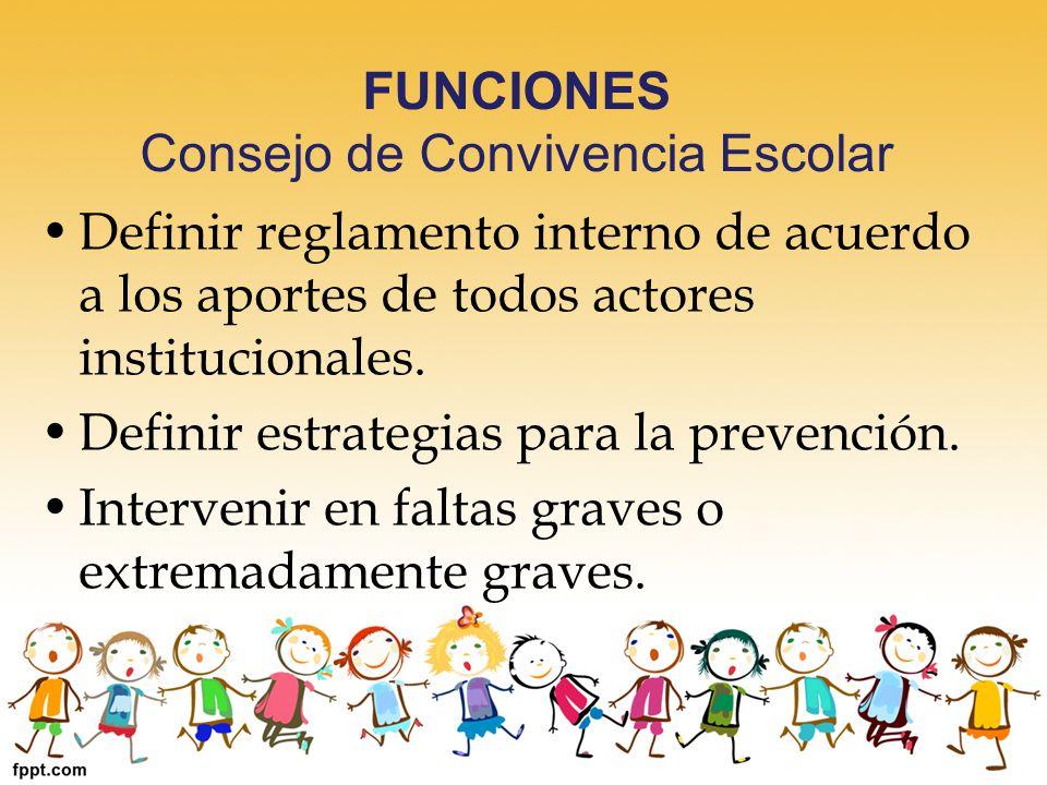 FUNCIONES Consejo de Convivencia Escolar