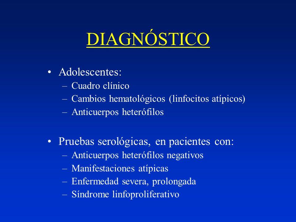 DIAGNÓSTICO Adolescentes: Pruebas serológicas, en pacientes con: