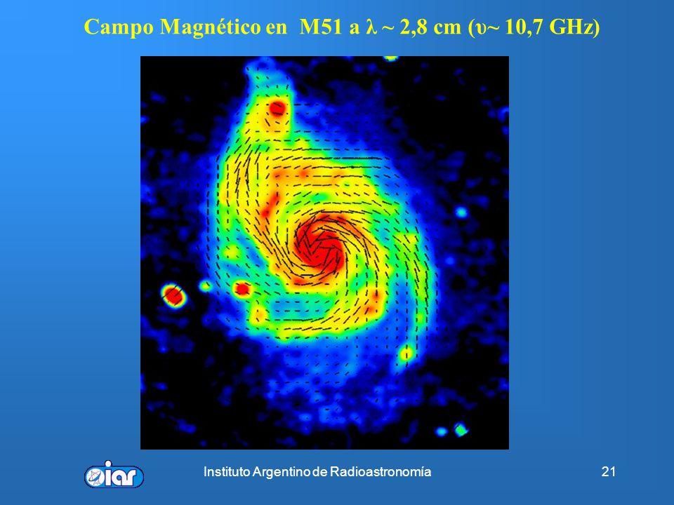Campo Magnético en M51 a λ ~ 2,8 cm (υ~ 10,7 GHz)