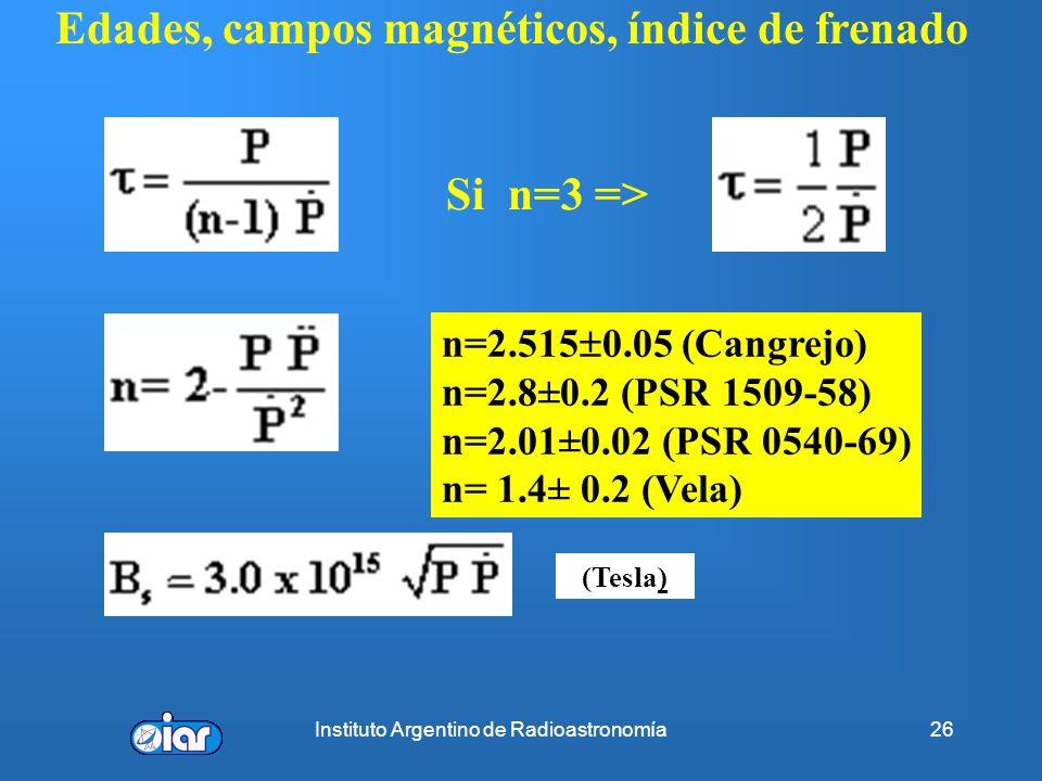 Edades, campos magnéticos, índice de frenado