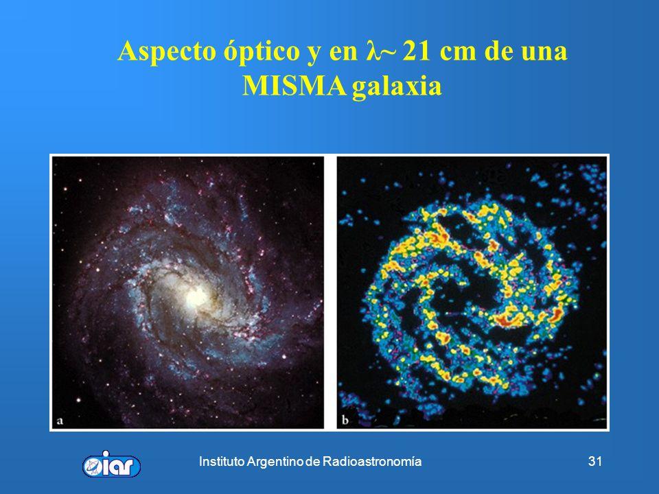 Aspecto óptico y en λ~ 21 cm de una MISMA galaxia