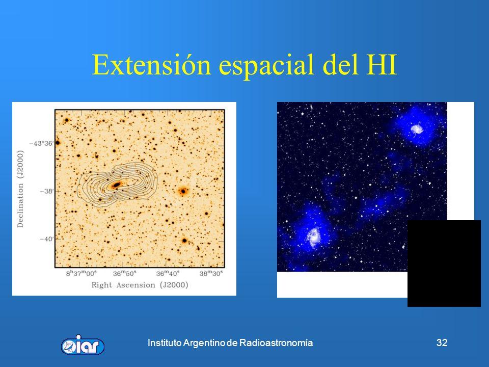 Extensión espacial del HI