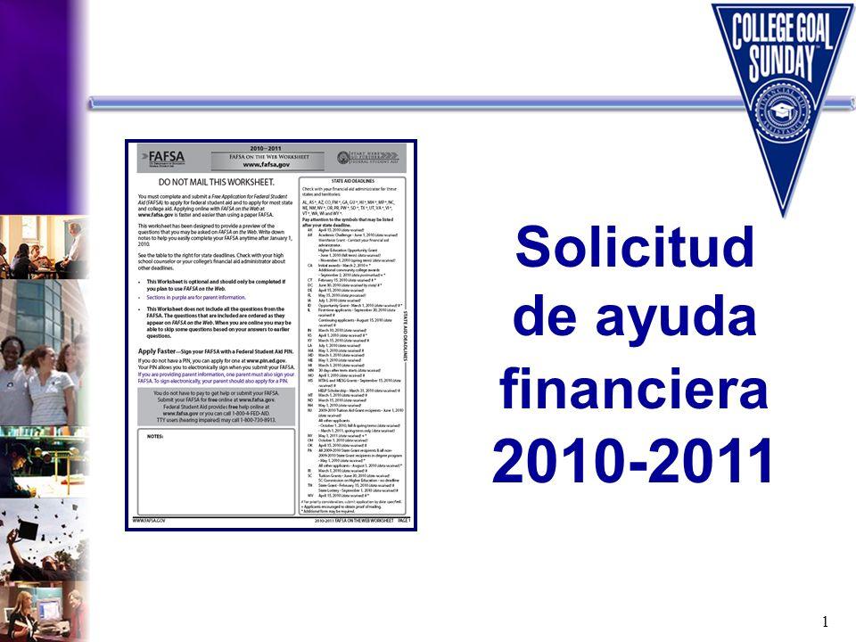 Solicitud de ayuda financiera 2010-2011