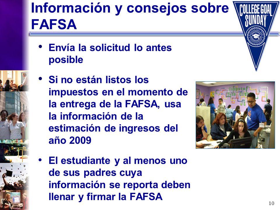 Información y consejos sobre FAFSA