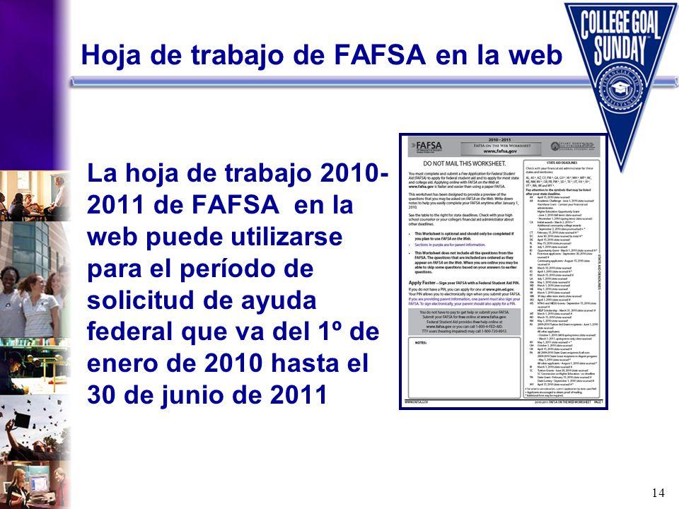 Hoja de trabajo de FAFSA en la web