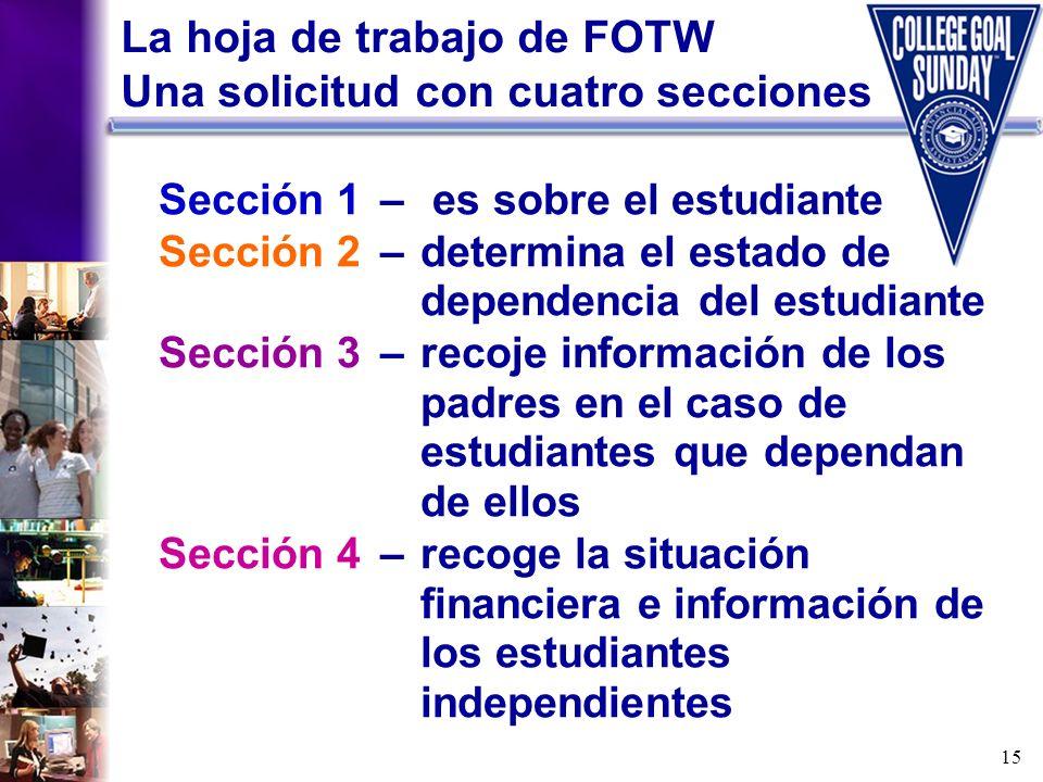 La hoja de trabajo de FOTW Una solicitud con cuatro secciones