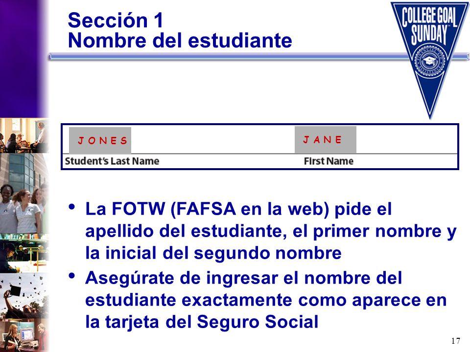 Sección 1 Nombre del estudiante