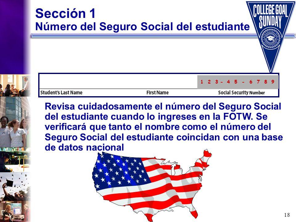 Sección 1 Número del Seguro Social del estudiante