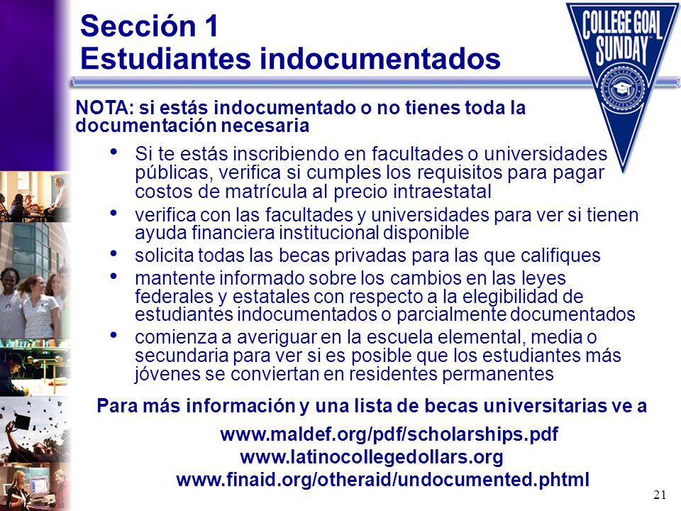 Sección 1 Estudiantes indocumentados