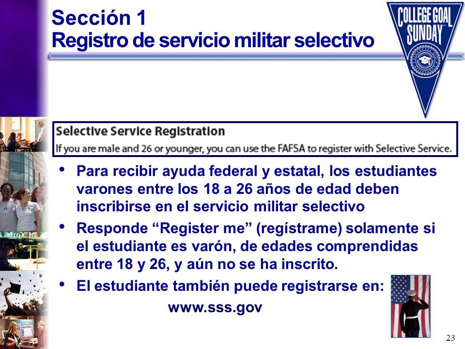 Sección 1 Registro de servicio militar selectivo