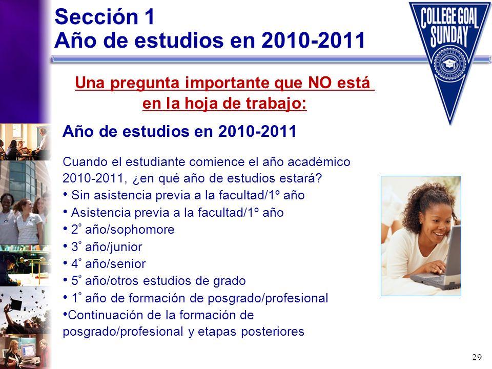 Sección 1 Año de estudios en 2010-2011