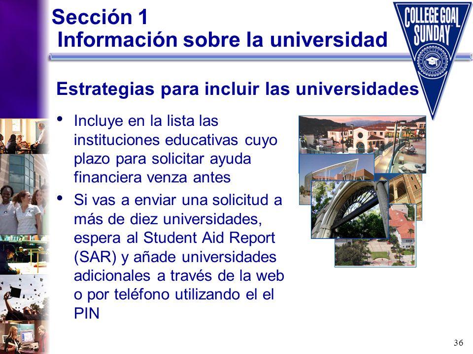 Sección 1 Información sobre la universidad