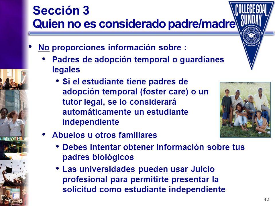 Sección 3 Quien no es considerado padre/madre