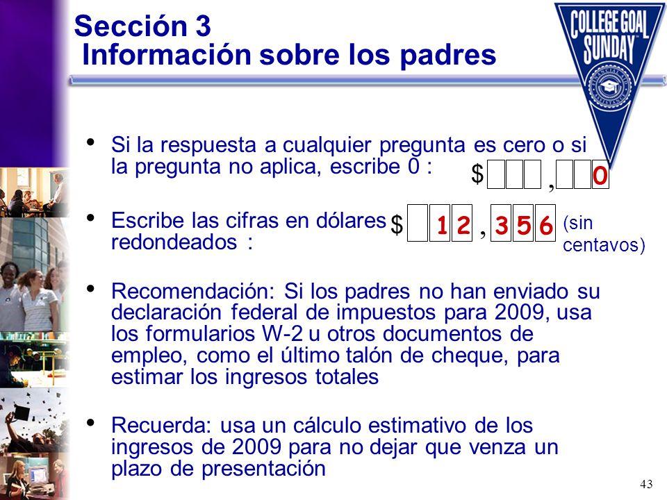 Sección 3 Información sobre los padres