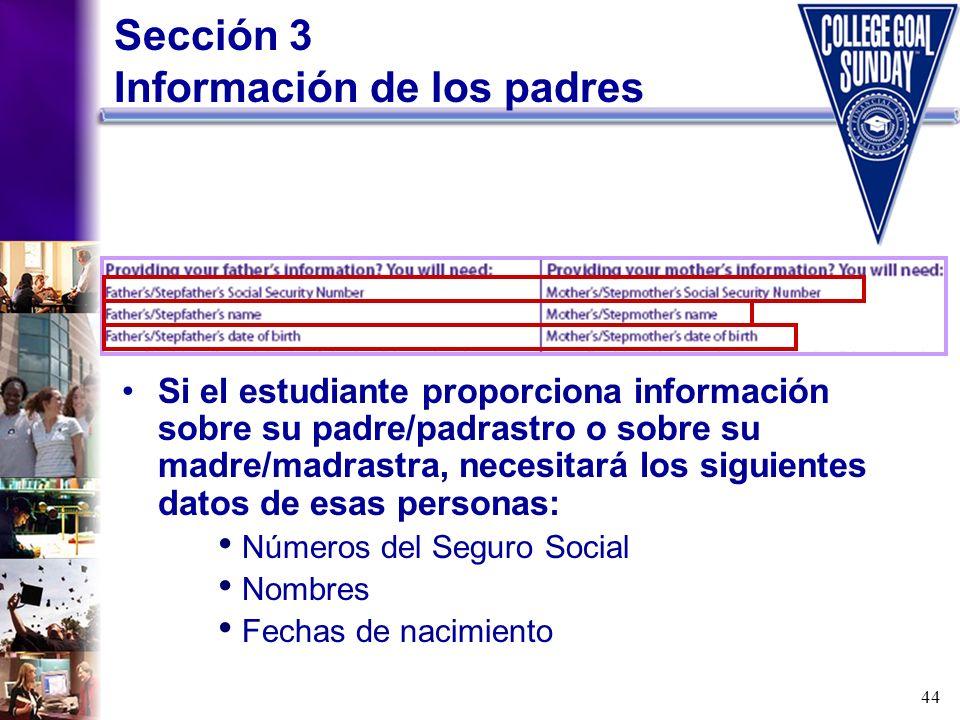 Sección 3 Información de los padres