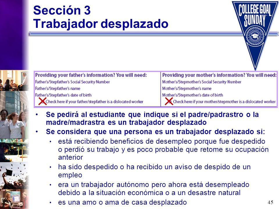 Sección 3 Trabajador desplazado