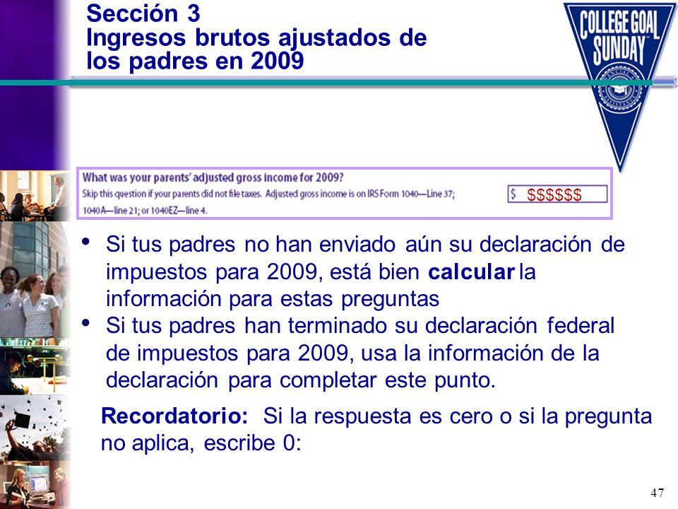 Sección 3 Ingresos brutos ajustados de los padres en 2009