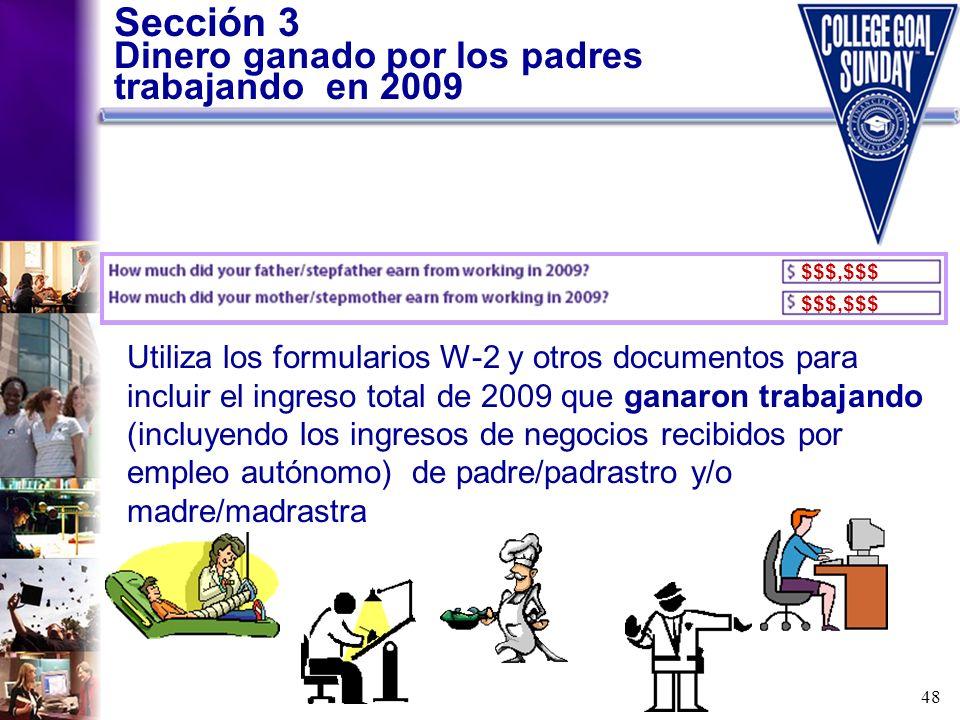 Sección 3 Dinero ganado por los padres trabajando en 2009