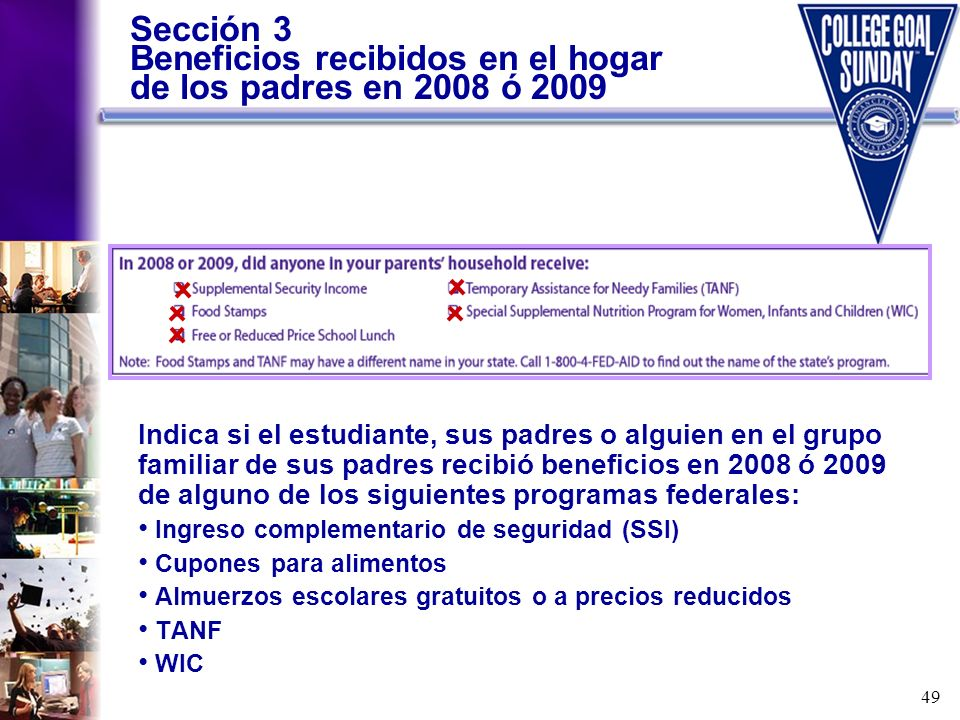 Sección 3 Beneficios recibidos en el hogar de los padres en 2008 ó 2009