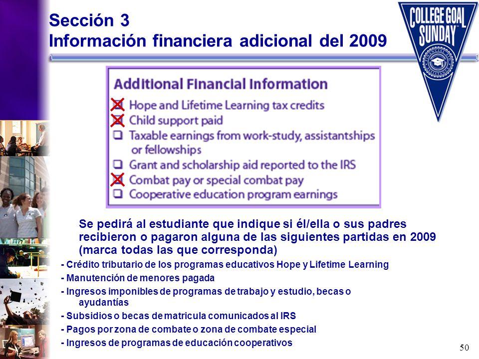Sección 3 Información financiera adicional del 2009