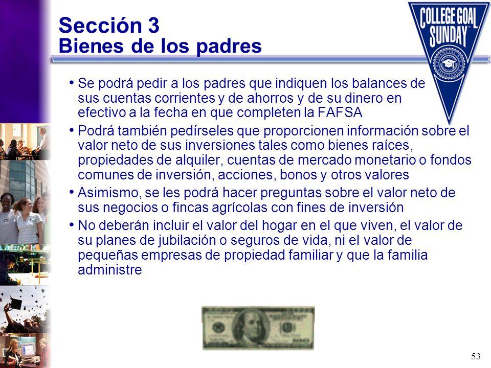 Sección 3 Bienes de los padres