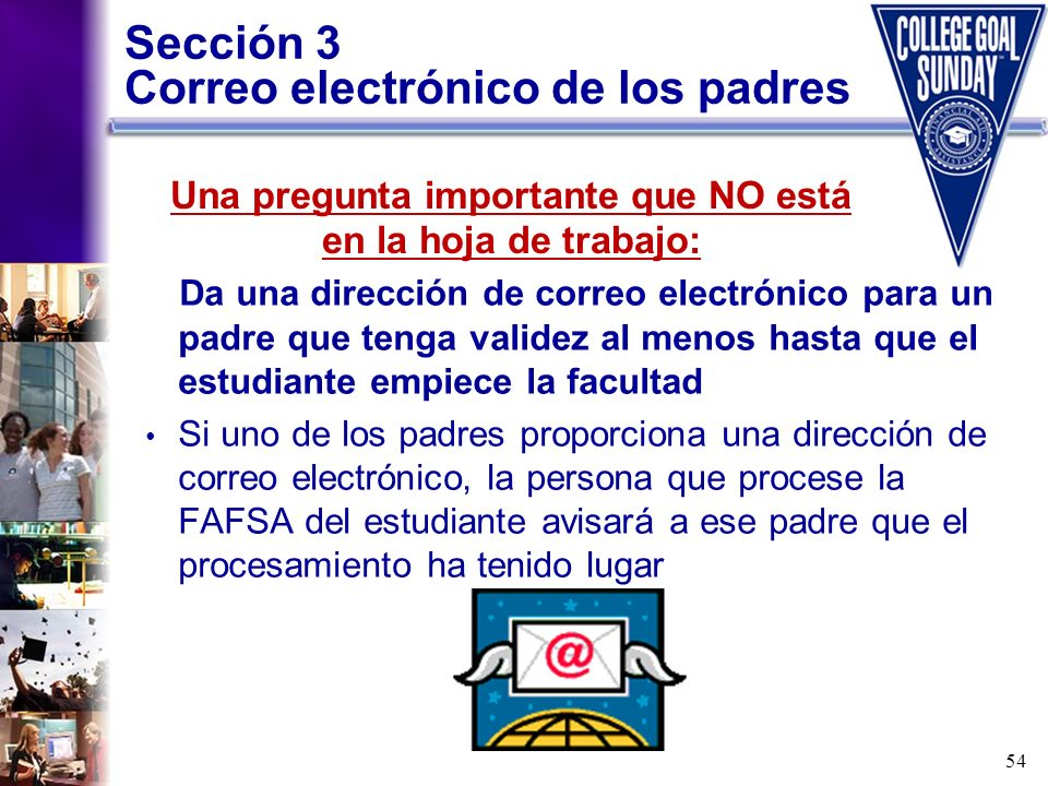Sección 3 Correo electrónico de los padres
