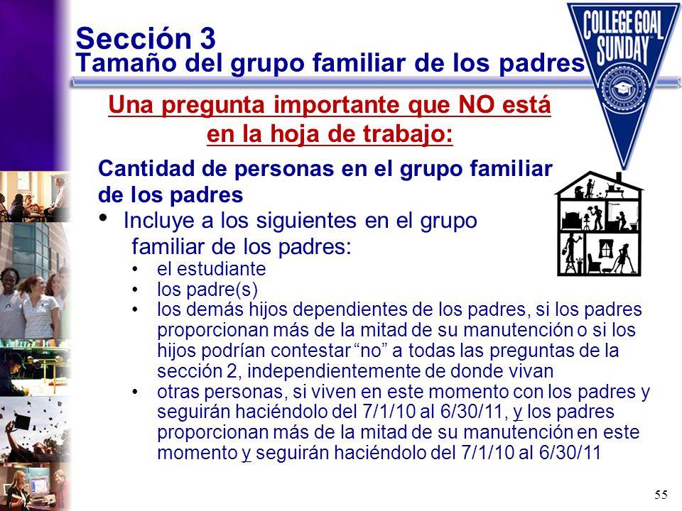 Sección 3 Tamaño del grupo familiar de los padres
