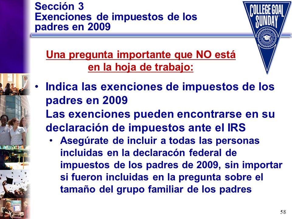 Sección 3 Exenciones de impuestos de los padres en 2009