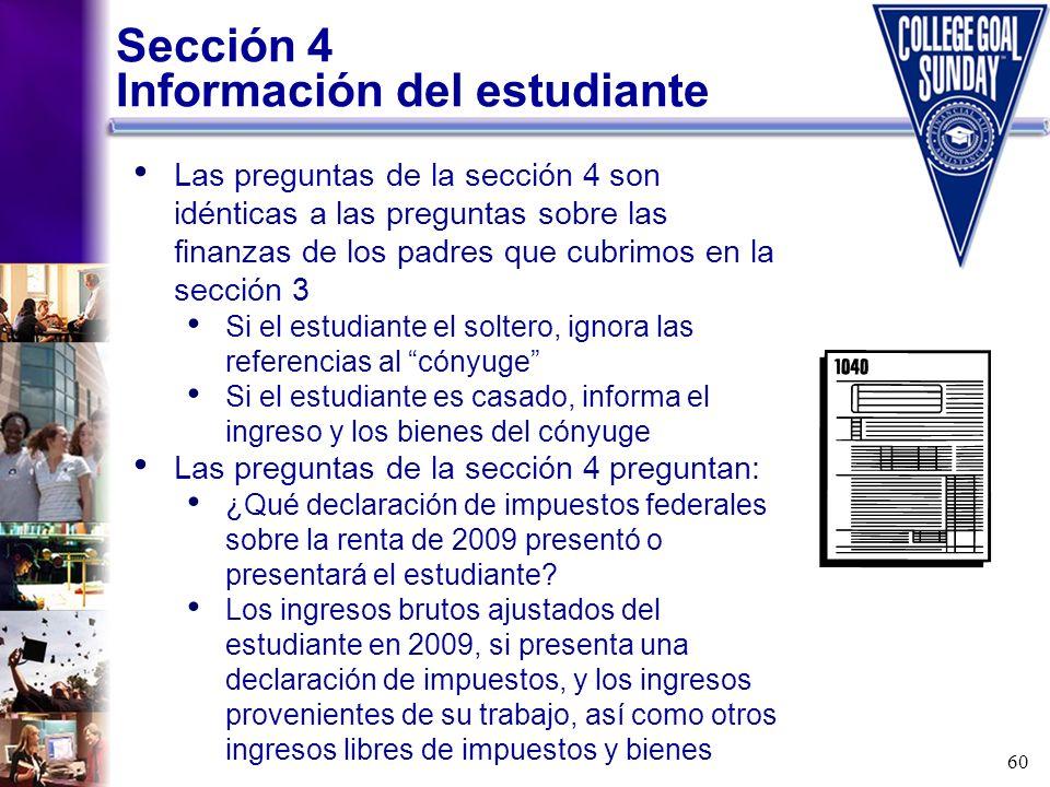 Sección 4 Información del estudiante