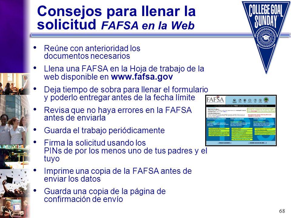 Consejos para llenar la solicitud FAFSA en la Web