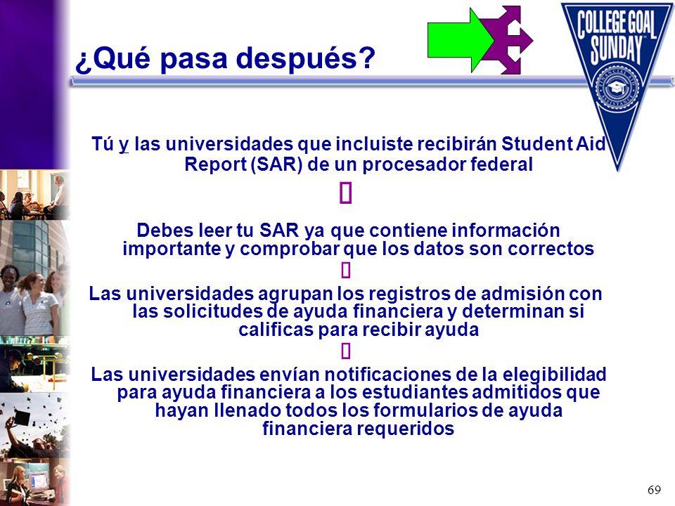 ¿Qué pasa después Tú y las universidades que incluiste recibirán Student Aid Report (SAR) de un procesador federal.