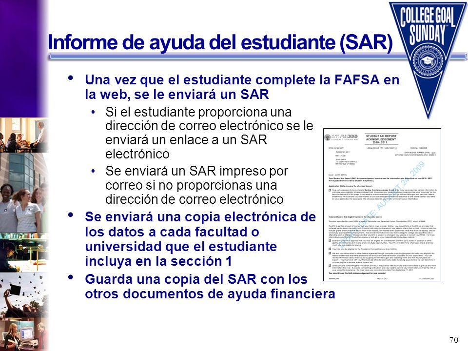 Informe de ayuda del estudiante (SAR)