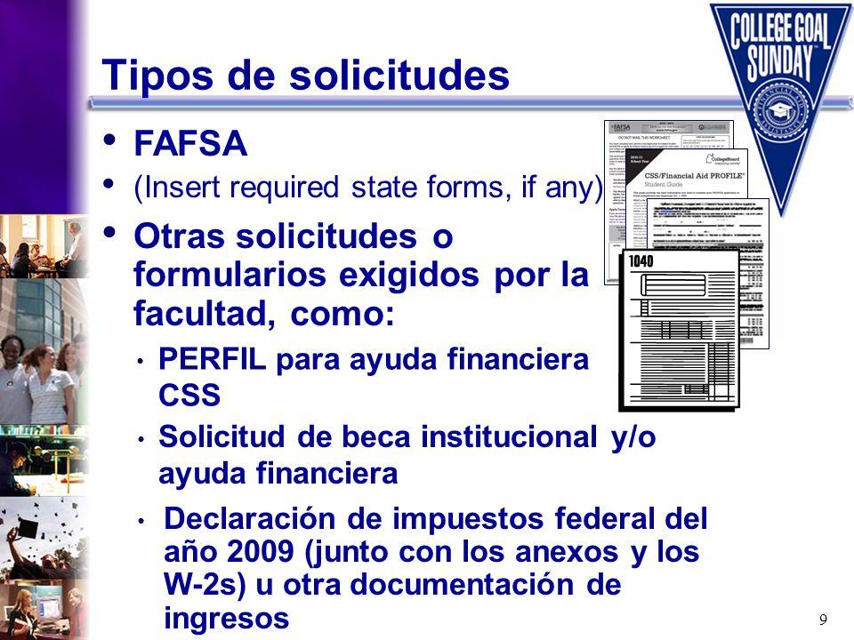 Tipos de solicitudes FAFSA