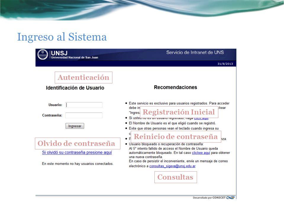 Ingreso al Sistema Autenticación Registración Inicial