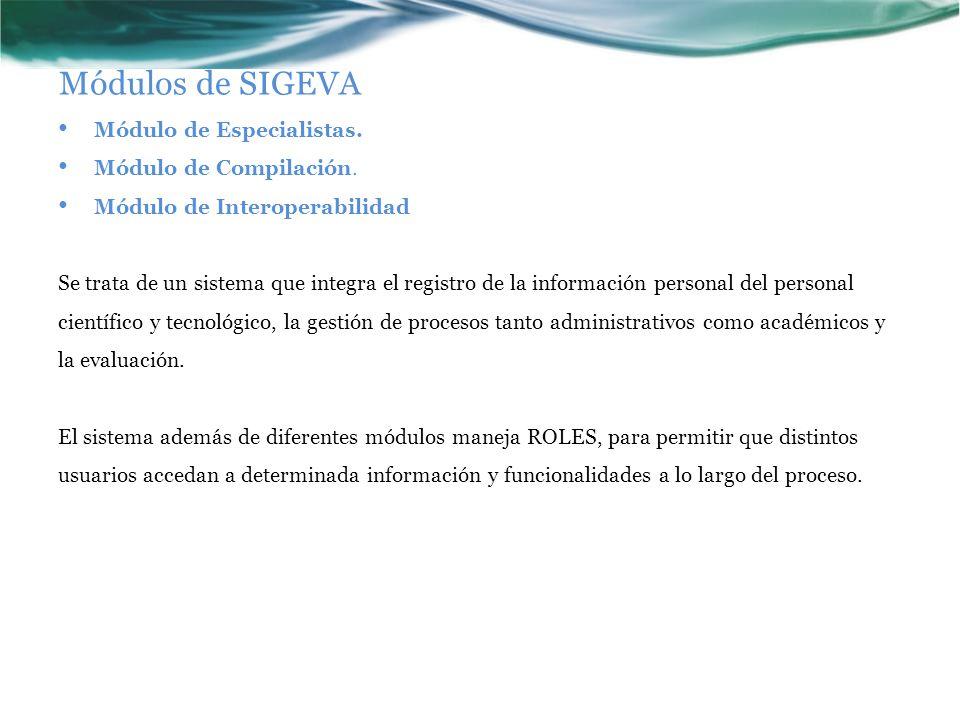 Módulos de SIGEVA Módulo de Especialistas. Módulo de Compilación.