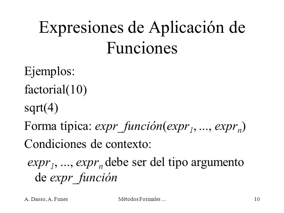 Expresiones de Aplicación de Funciones