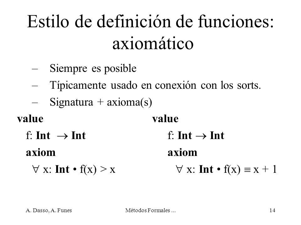 Estilo de definición de funciones: axiomático